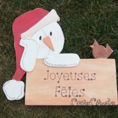 Pancarte Joyeuses Fêtes Bonhomme de neige