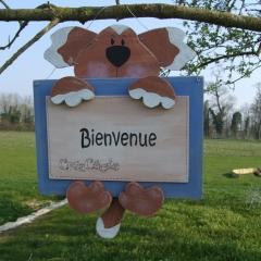 """Pancarte chien cadre """"Bienvenue"""""""