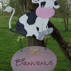 """Pancarte """"Bienvenue"""" vache Lolie Pop"""