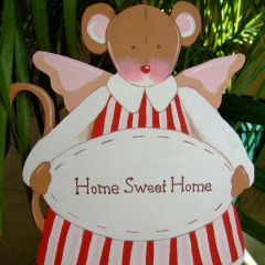 "Pancarte Souris Tilda ""Home Sweet Home"""