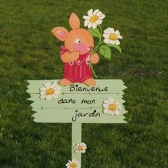 """Panneau lapin """"Bienvenue dans mon jardin"""""""